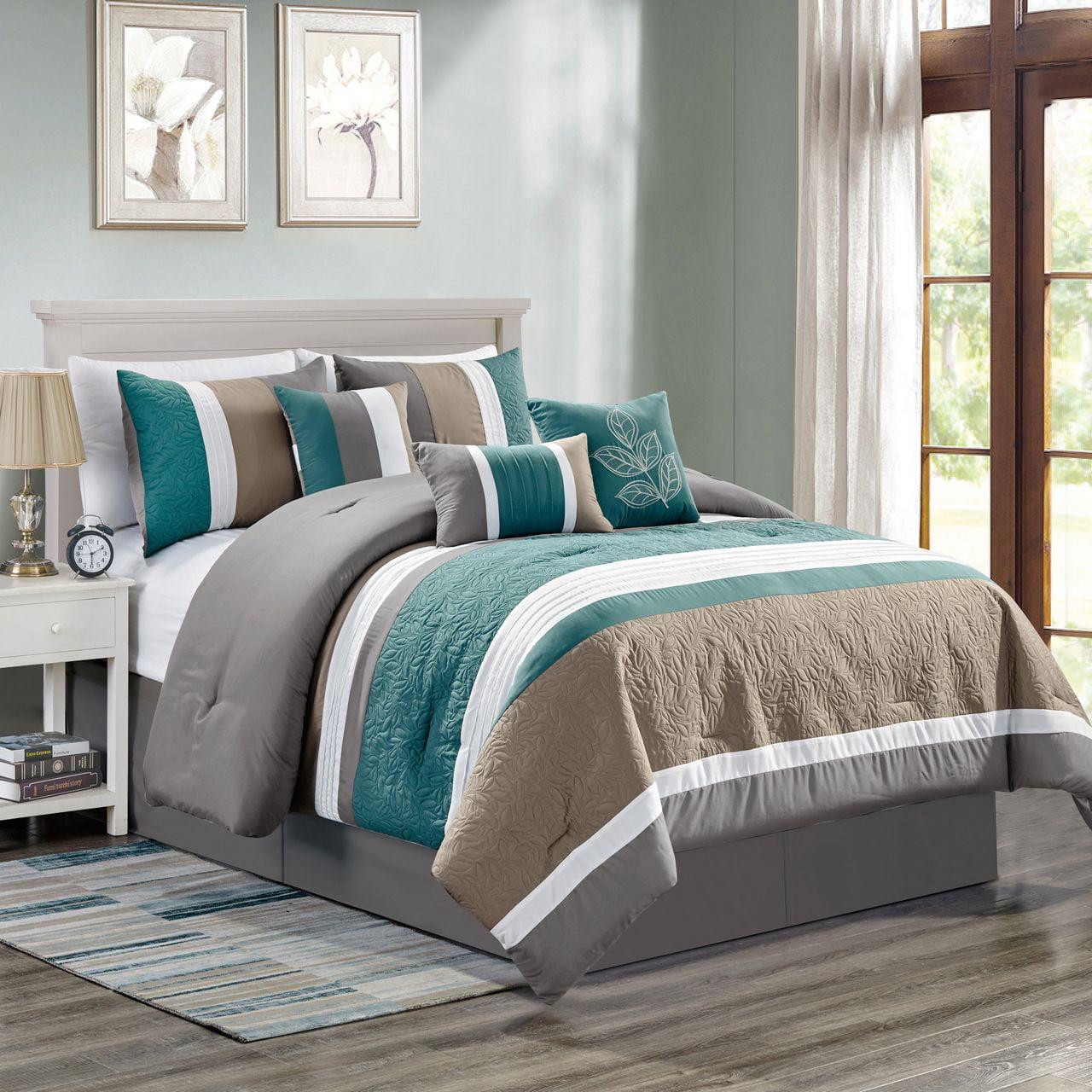 7 Piece Abel Teal Gray Taupe Comforter Set King Walmart Com Walmart Com