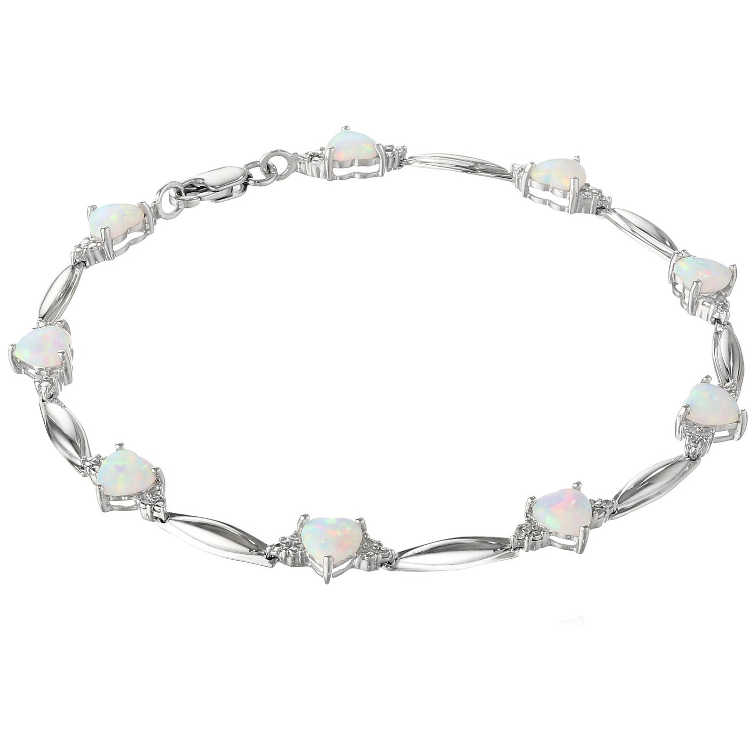 1.00 CT Heart 5MM Created Opal and Diamond Sterling Silver Bracelet by Metro Jewelry