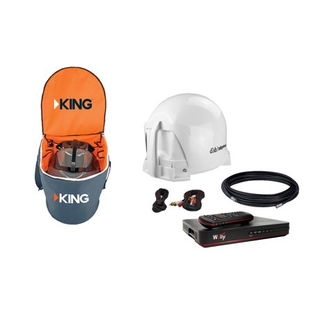 KING VQ4450 DISH Tailgater Bundle with Carry Bag - Portable Satellite TV Antenna, DISH Wally HD Receiver & CB1000 Tailgater Padded Carry Bag for RV, Tailgating, Camping, Outdoor
