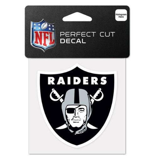 Oakland Raiders Official NFL 4 inch x 4 inch  Die Cut Car Decal by Wincraft