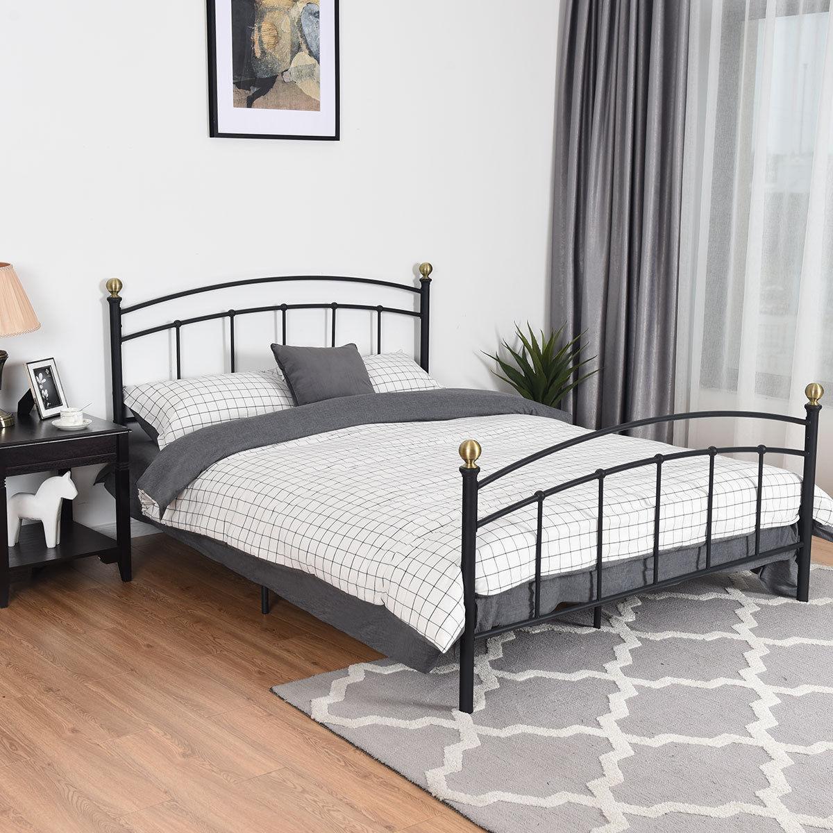 Gymax Queen Size Metal Bed Frame Platform Metal Slat Support Headboard Footboard