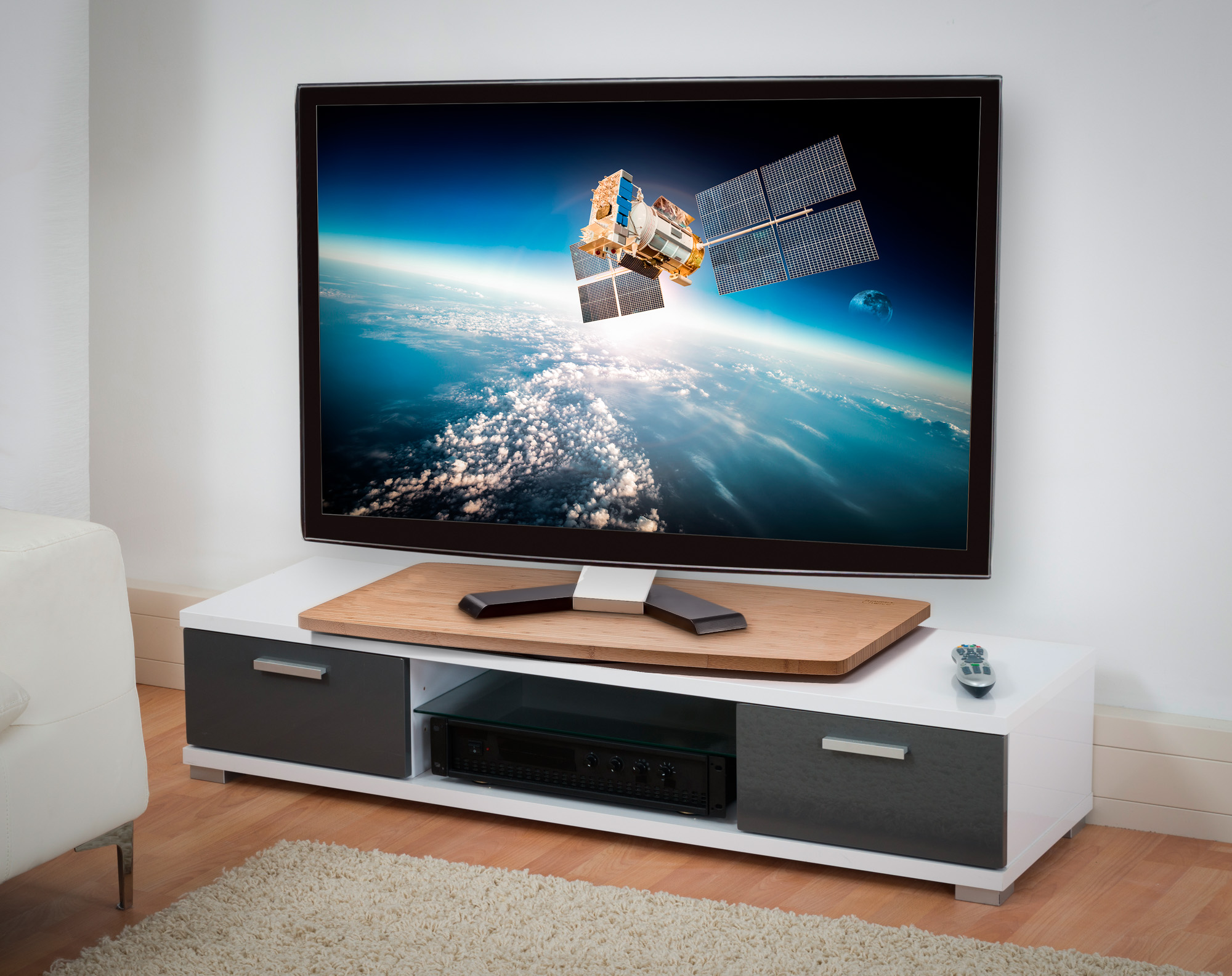 31 inch Base Surface Prosumer/'s Choice Black TV Swivel Stand for LED//LCD TV