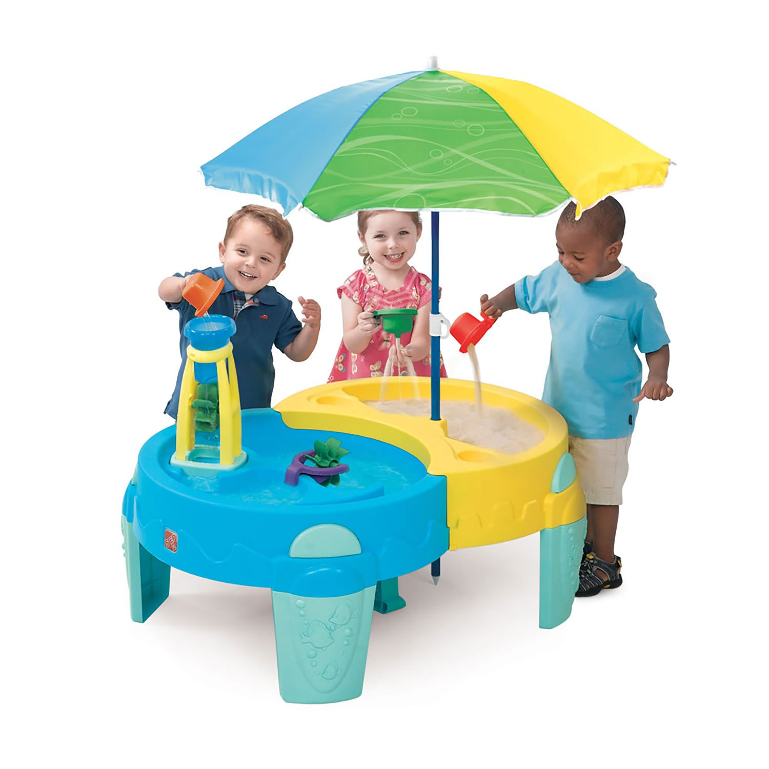 "Step2 Shady Oasis Sand & Water Table,  40"" umbrella provides shade and protects from the harmful sun rays"