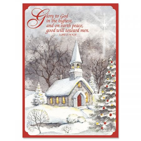 Snowy Church Religious Christmas Greeting Cards- Set of 18 Holiday Greeting Cards - Religious Christmas Card Sayings