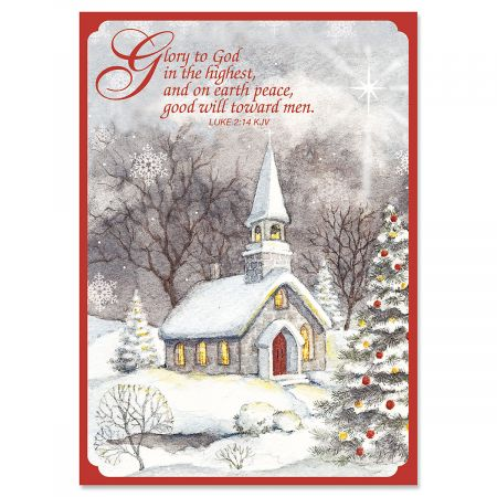Snowy Church Religious Christmas Greeting Cards- Set of 18 Holiday Greeting Cards