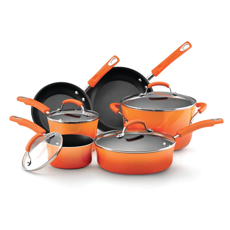 Rachael Ray Hard Enamel Nonstick 10-Piece Cookware Set, Orange