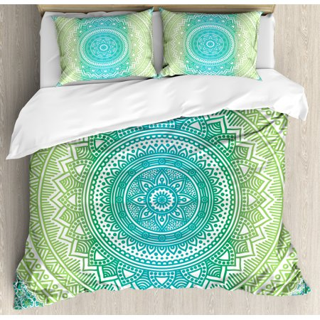 Teal and Lime Duvet Cover Set, Ombre Mandala Ethnic Pattern with Flower and Petals Hippie Style Art, Decorative Bedding Set with Pillow Shams, Teal Lime and White, by Ambesonne ()