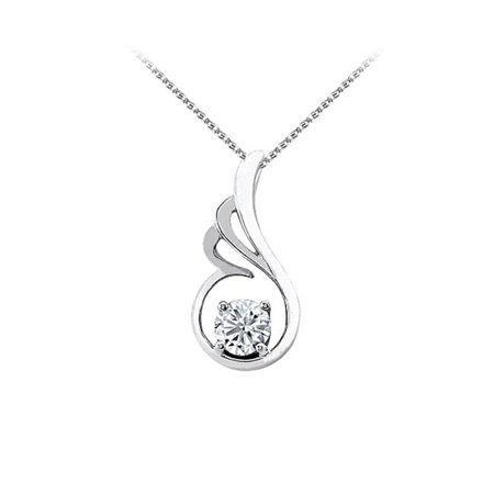 Fine Jewelry Vault UBPD3066W14CZ Cubic Zirconia Pendant in 14K White Gold with Free Chain Best