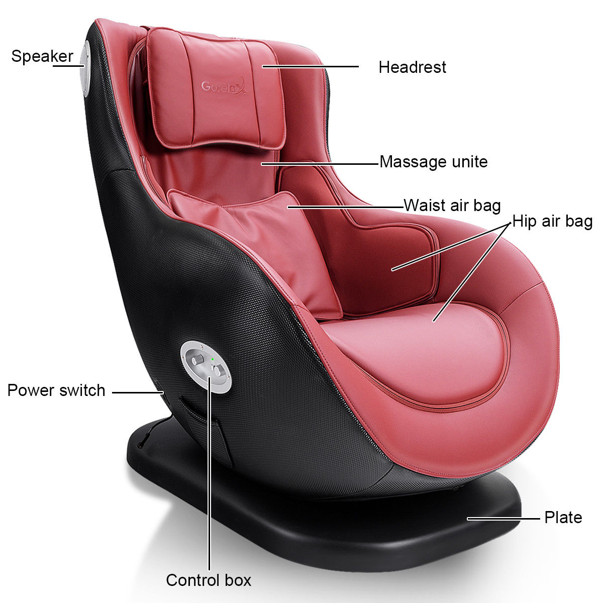 Luxury Massage Chair Heated W/ Bluetooth Speaker &USB Charger - image 4 of 10