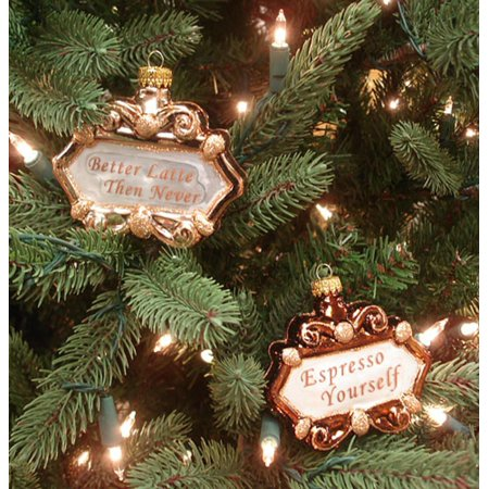 Coffee Christmas Ornaments.Set Of 2 Coffee Lover Idioms Glass Christmas Ornaments