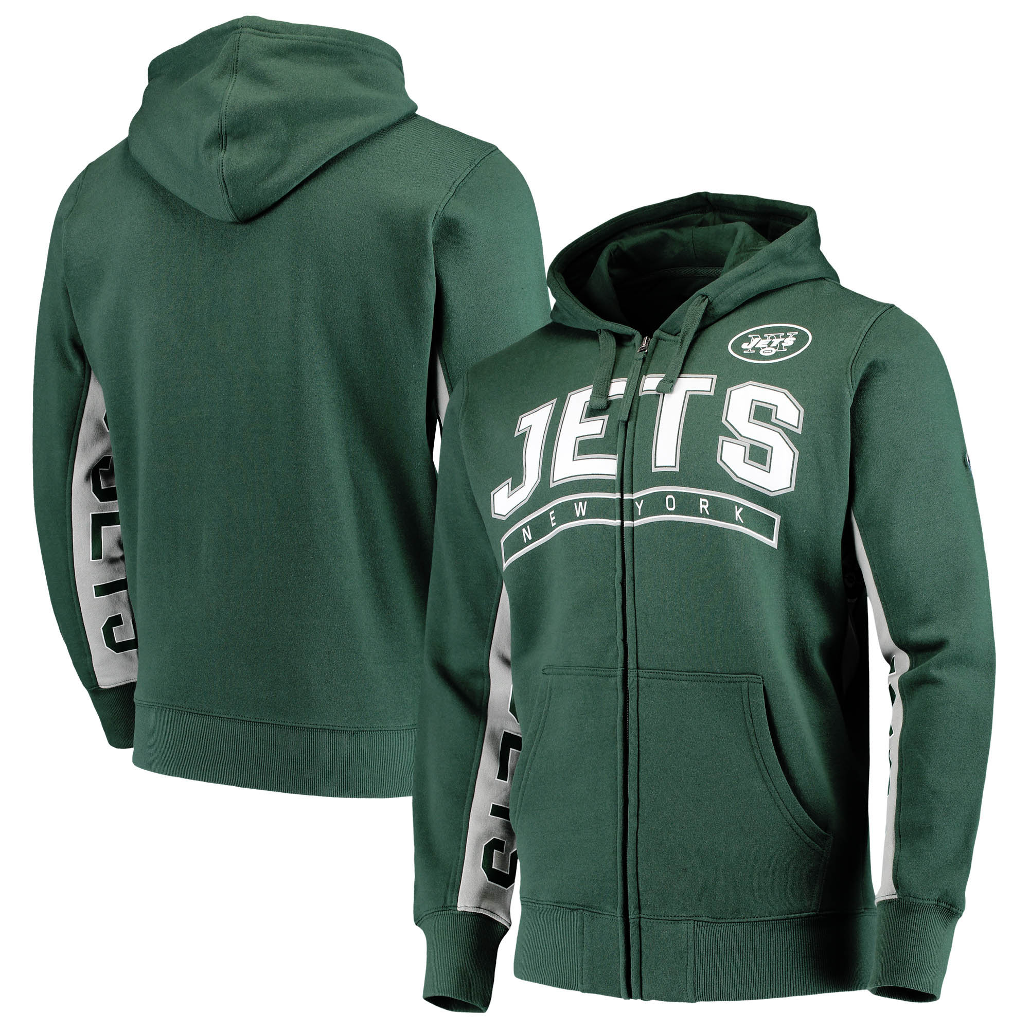 New York Jets Hands High Blowout Full-Zip Hoodie - Green/White