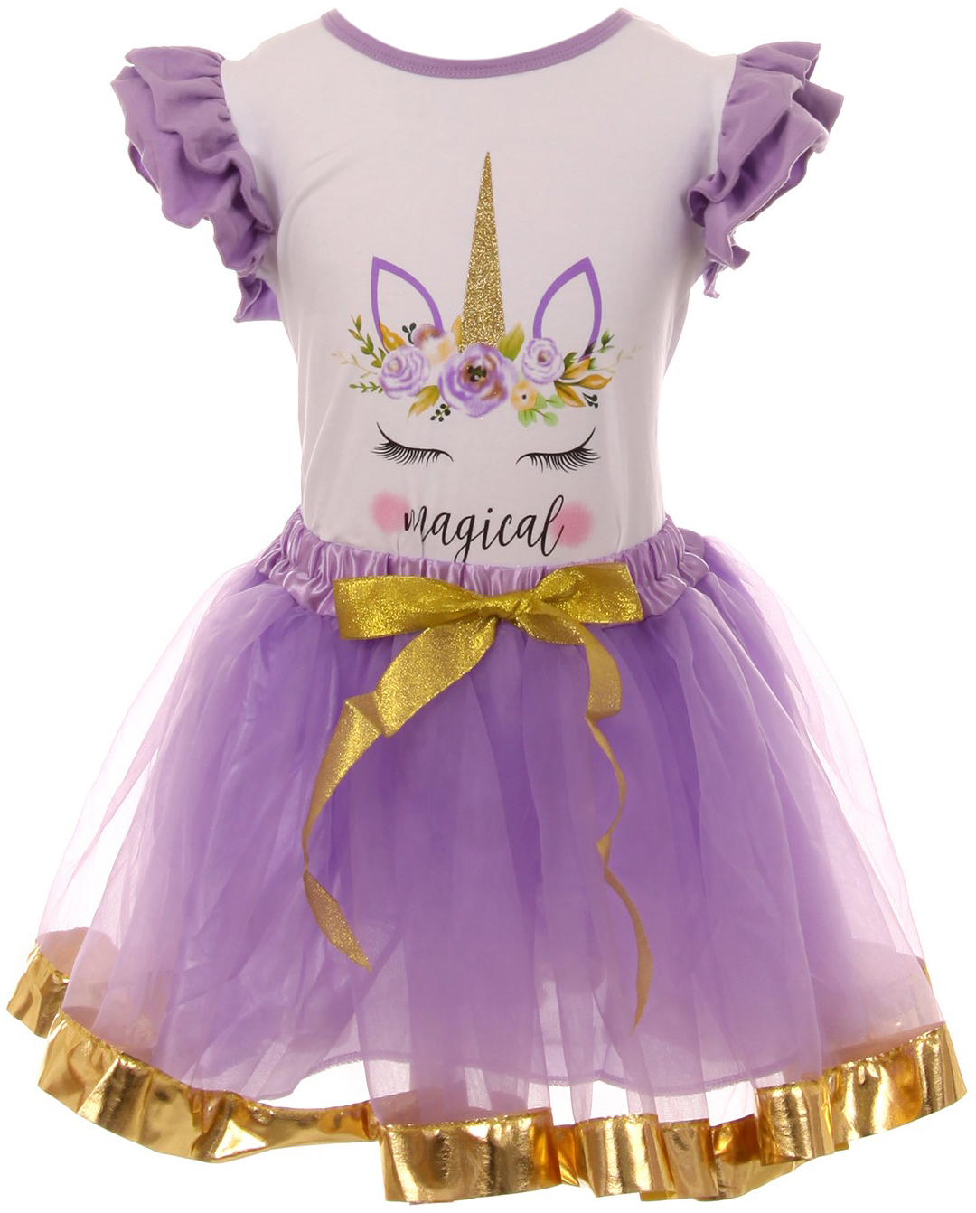 BNY Corner Girl Kids 2 PCS Unicorn T-Shirt Top Tutu Tulle Skirt Clothing Set 2-8