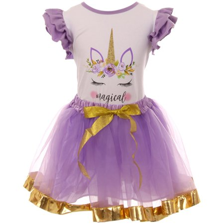 Toddler Girl Kids 2 PCS Unicorn T-Shirt Top Tutu Tulle Skirt Clothing Set White Lilac 2T XS 503258 BNY (Lilac Tutu)