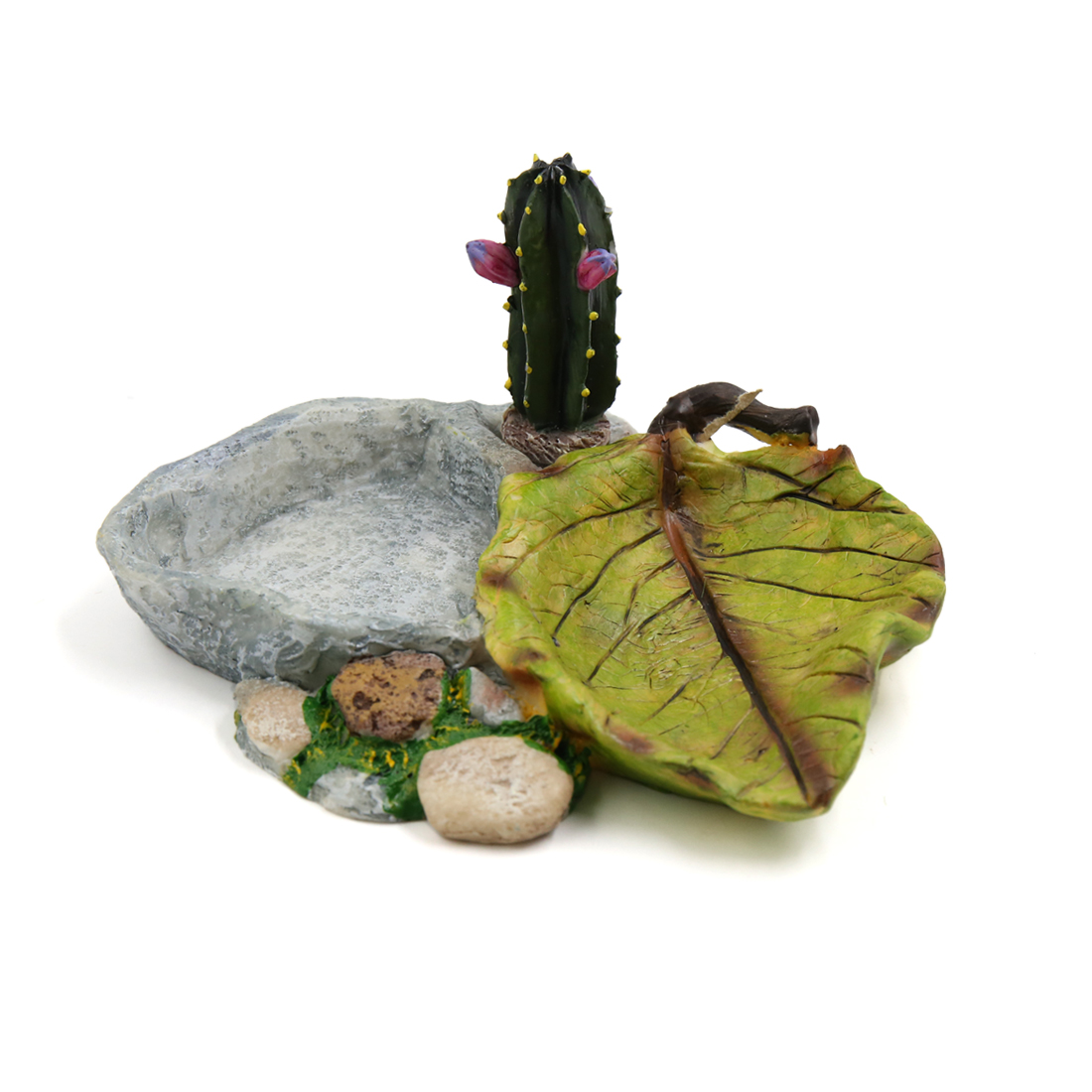 Resin Bowl Feeding Plate Food Water Dish w Cereus Plant Decor for Small Reptiles