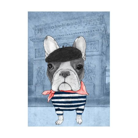 French Bulldog with Arc de Triomphe Print Wall Art By Barruf