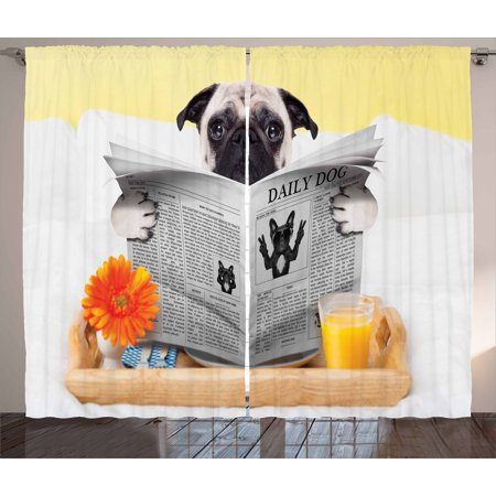 Pug Curtains 2 Panels Set, Pug Reading Daily Dog Breakfast in Bed Sunday Family Fun Comedic Image, Window Drapes for Living Room Bedroom, 108W X 90L Inches, Pale Brown Yellow Orange, by (City Lights Bed And Breakfast New York Ny)