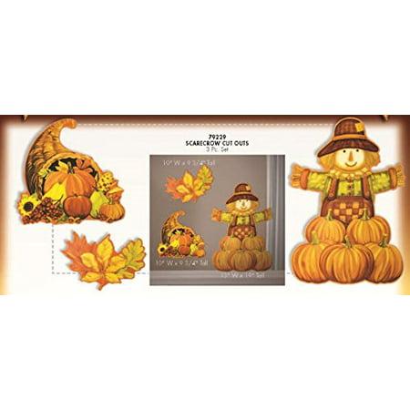 Harvest Scarecrow Cutouts 3/Pkg Pkg/3](Scarecrow Crafts)