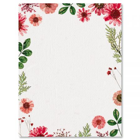 Sun Dried Florals Easter Letter Papers - Set of 25 spring stationery papers are 8 1/2