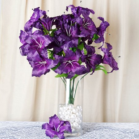 BalsaCircle 54 Extra Large Lilies Artificial Silk Flowers - DIY Home Wedding Party Bouquets Arrangements Centerpieces