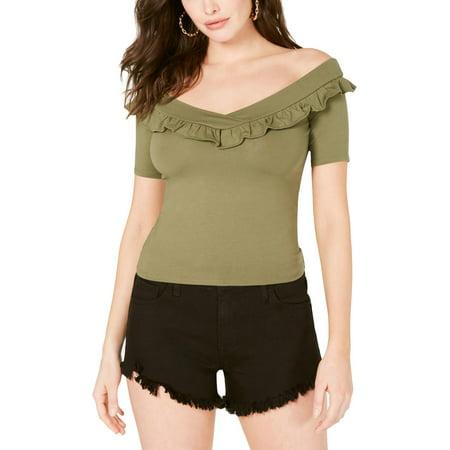 Guess Womens Kae Short Sleeve Ruffled Blouse