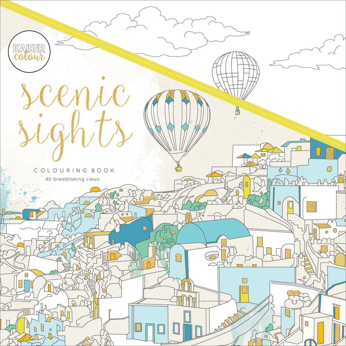 """KaiserColour Perfect Bound Coloring Book 9.75""""X9.75""""-Scenic Sights"""