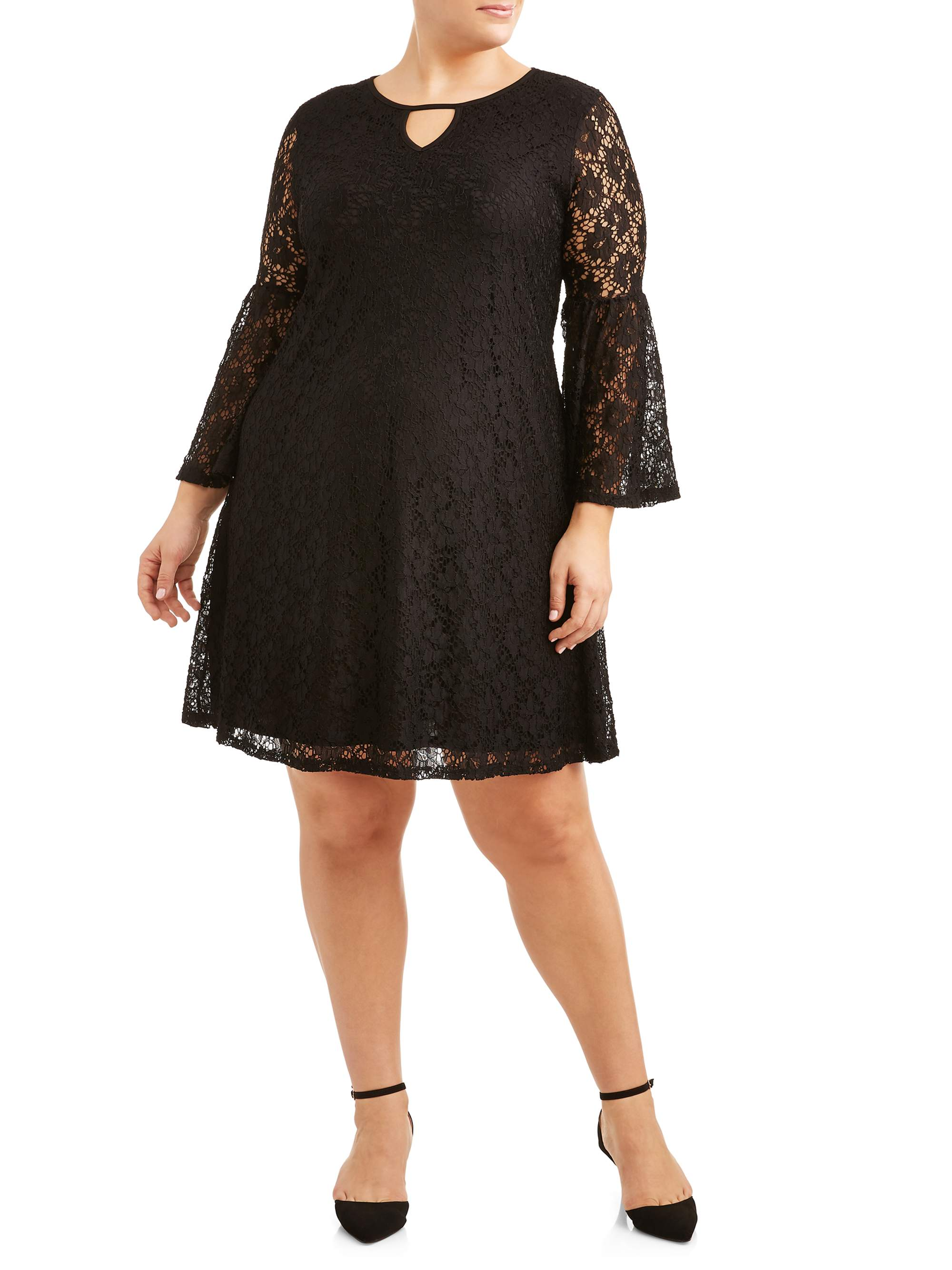 Women's Plus Size Bell Sleeve All Over Lace Dress
