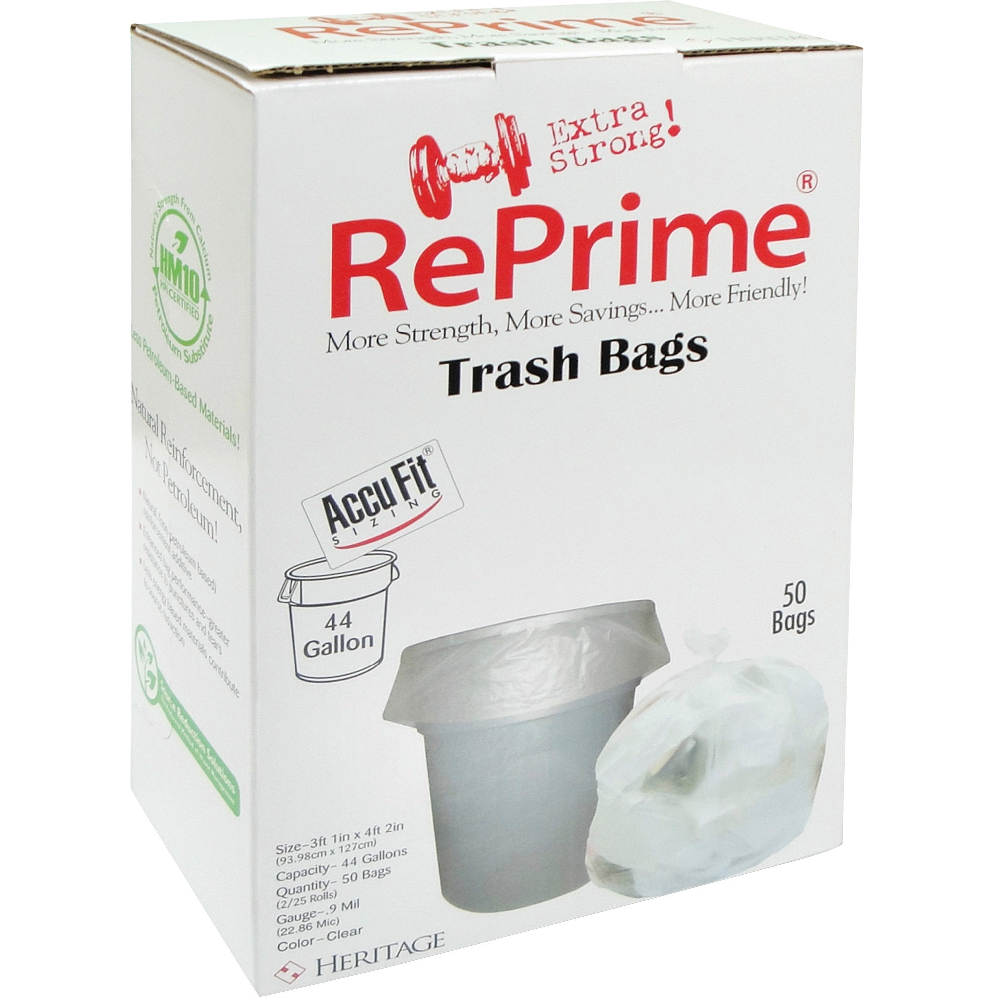Heritage RePrime AccuFit 44-gal Can Liners, Clear, 50 / Box (Quantity)