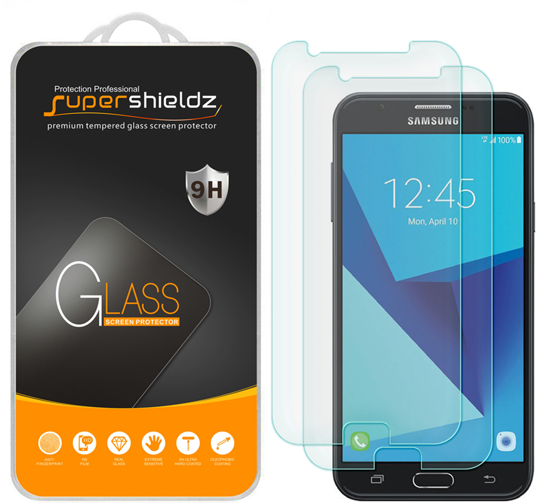 [2-Pack] Supershieldz Samsung Galaxy J7 Sky Pro Tempered Glass Screen Protector, Anti-Scratch, Anti-Fingerprint, Bubble Free