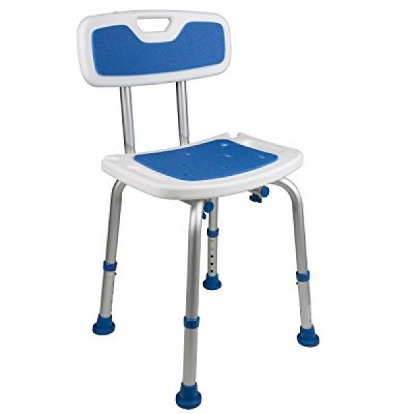 Padded Bath Shower Safety Seat with Backrest