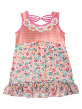 Useful New Dresses Baby Girls 23 Months Pink Flower Sleeveless Summer Sun Dress Latest Technology Girls' Clothing (newborn-5t)