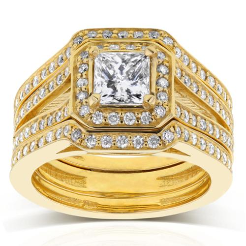 Annello 14k Yellow Gold 1 1/2ct TDW Princess Diamond Halo Split Band 3-piece Bridal Rings Set (H-I, I1-I2) Size 6
