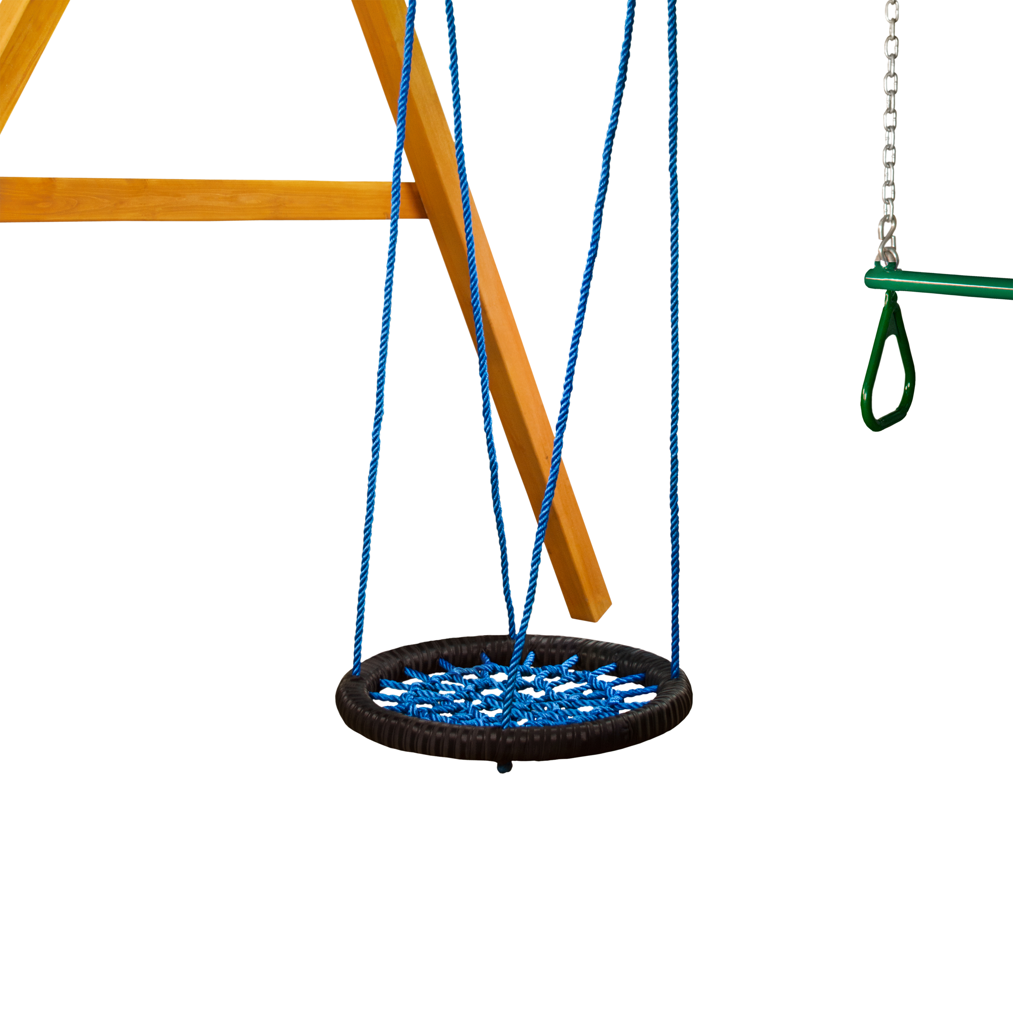Gorilla Playsets Large Orbit Swing, Black with Blue Ropes