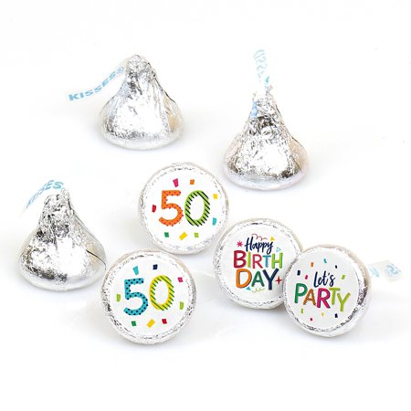 50th Birthday - Cheerful Happy Birthday - Colorful Fiftieth Birthday Party Round Candy Sticker Favors - Labels Fit Hershey's Kisses (1 Sheet of 108)  (50th Birthday Party Themes)
