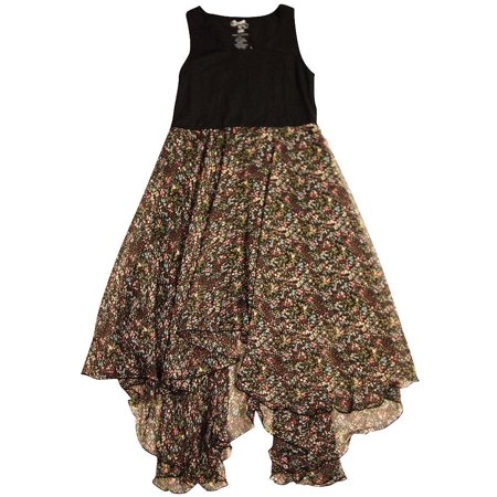 Flowers by Zoe - Big Girls Sleeveless Dress - 6 Colors - 30 Day Guarantee Black Brown Floral / 10
