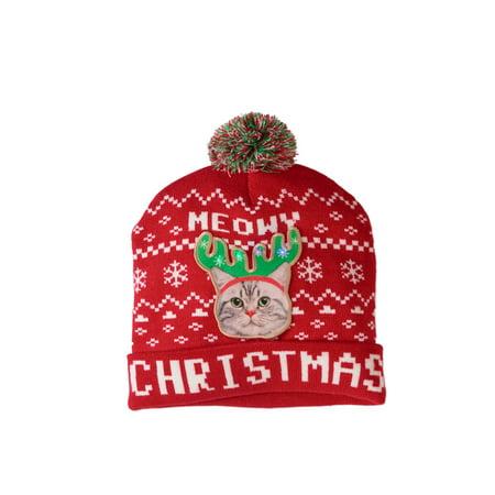 Meowy Christmas  Led Light Up Knit Festive Beanie