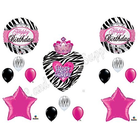 PRINCESS ZEBRA CROWN Balloons Birthday party Decoration Supplies 16th 13th Girl