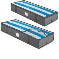 Underbed Storage Bag Organizer (2 Pack) Large Capacity Storage Box, 600 Denier Oxford Material, Reinforced Strap Handles,Clear Window, Store Blankets, Comforters, Linen, Bedding, Seasonal Clothing