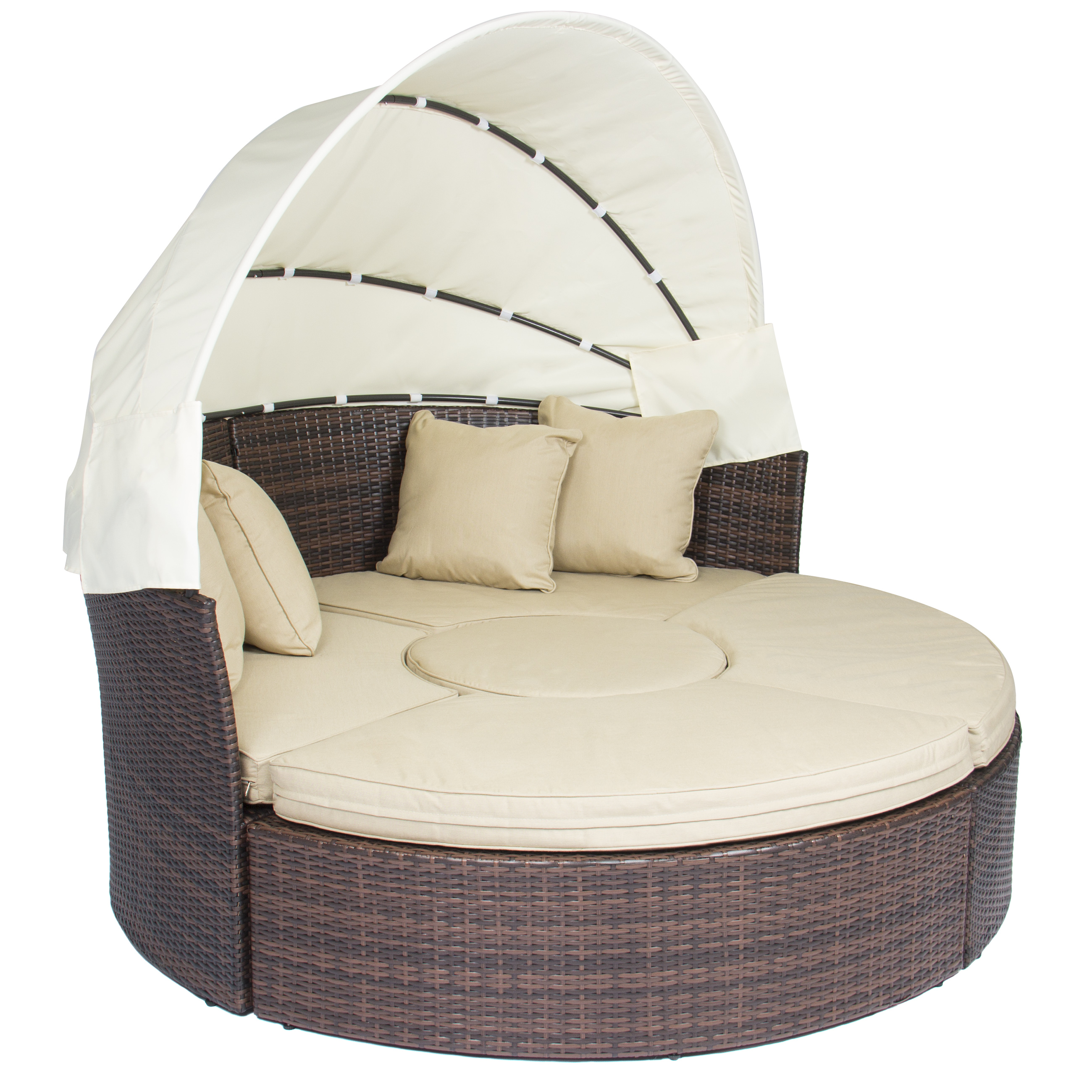 Best Choice Products Outdoor Patio Sofa Furniture Round Retractable Canopy Daybed Brown Wicker Rattan