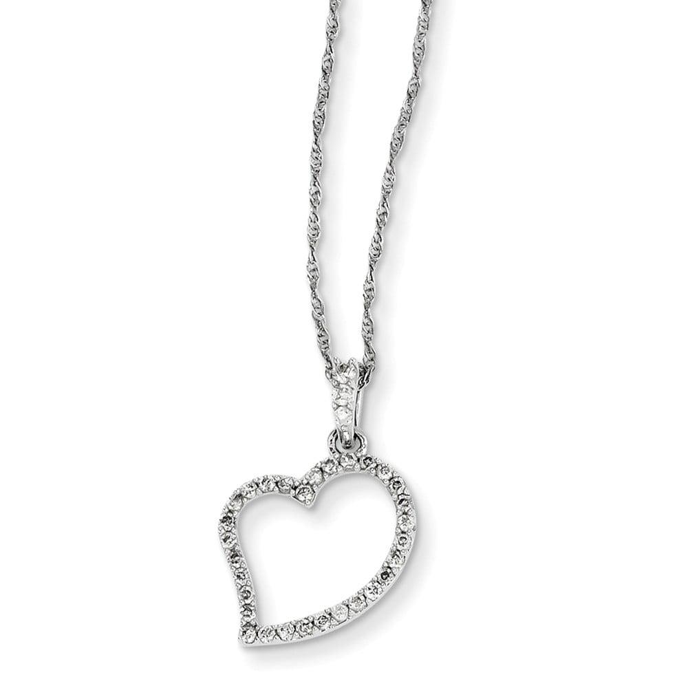 14K White Gold Diamond Heart Necklace. Carat Wt- 0.25ct