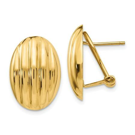 14k Yellow Gold Hollow Flat back Polished Fancy Omega Back Post Earrings - 4.5 Grams (Omega Polished Earring)