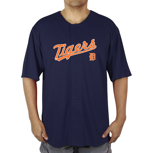 MLB Detroit Tigers Big Men's Poly Button Down Jersey