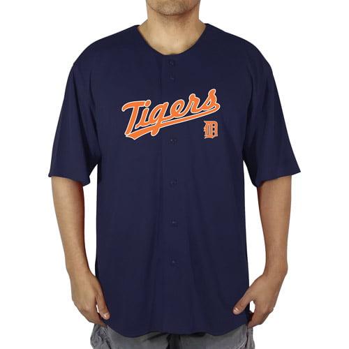 MLB Detroit Tigers Big Men's Poly Button Down Jersey