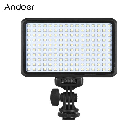 Andoer PAD160 LED Video Light 6000K Dimmable Fill Light Continuous Light Panel 12W CRI90+ with Camera Mount and CT Filter for DSLR ILDC Cameras Light Stand for Small Product Portrait