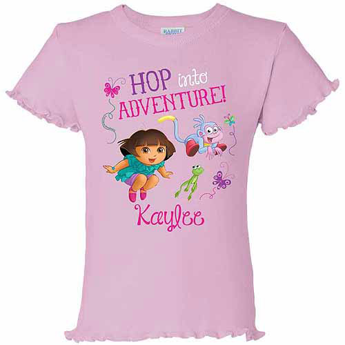 Personalized Dora the Explorer Hop into Adventure Toddler Girl Ruffle Tee, Pink