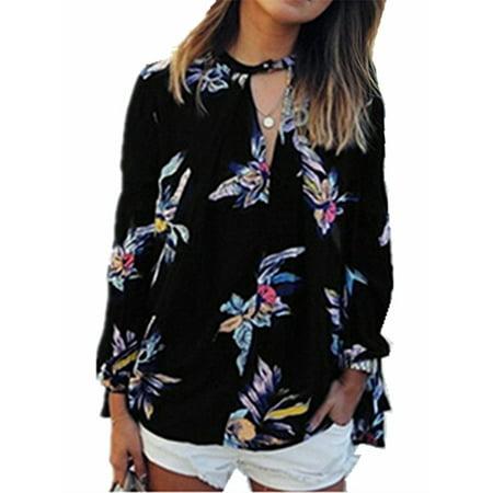 Women Floral Print Long Sleeve Chiffon Shirt Blouse (Floral Pattern Halter Top)