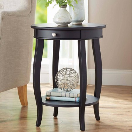 Better Homes & Gardens Round Accent Table with Drawer, Multiple Colors (Brown Round End Table)
