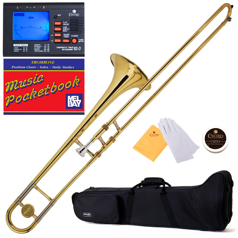Mendini by Cecilio MTB-L Gold Lacquer Bb Tenor Slide Trombone w/1 Year Warranty, Tuner, Durable Deluxe Case and Pocketbook