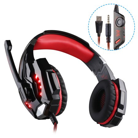 TSV Stereo Gaming Headset for Xbox One PS4 PC, Surround Sound Over-Ear  Headphones with Noise Cancelling Mic, LED Lights, Volume Control for  Laptop,