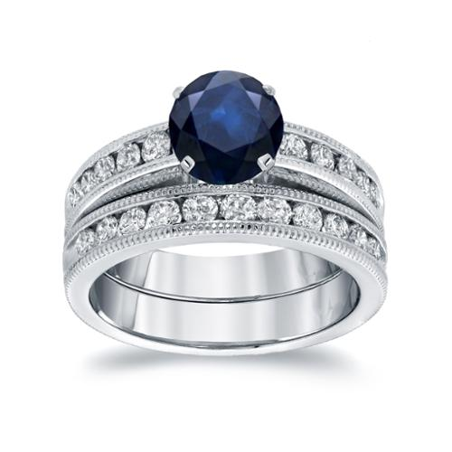 Auriya 14k White Gold 1ct Blue Sapphire and 1ct TDW Round Diamond Bridal Ring Set (H-I, SI1-SI2) White Gold - Size 7