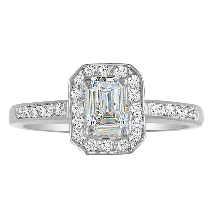 SuperJeweler Hansa 1ct Diamond Emerald Engagement Ring in...